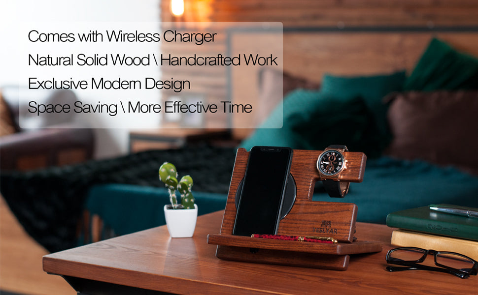 Smart Docking Station With Wireless Charging Pad - Light Ash Wood