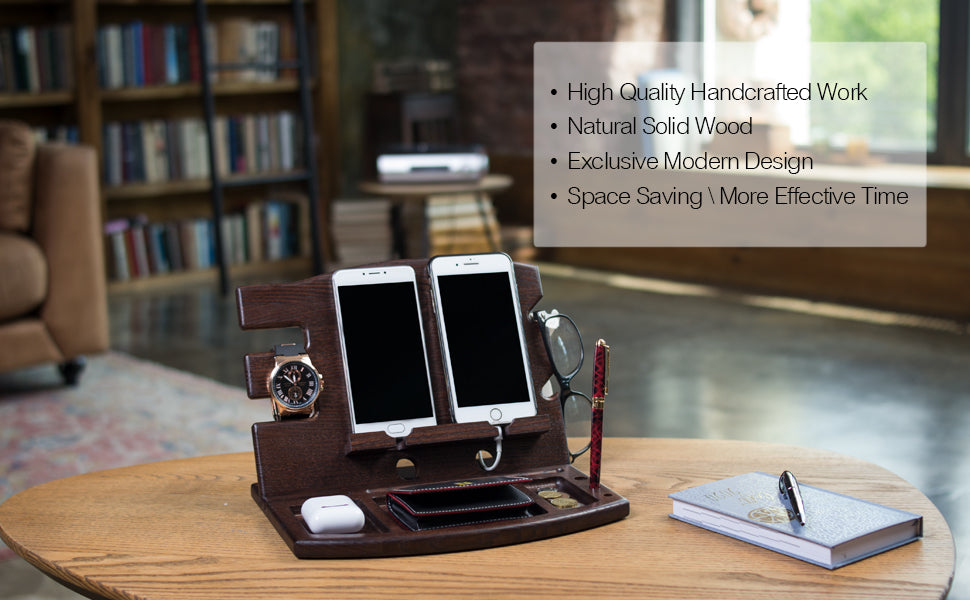 Spacious Double Phone Docking Station And Organizer