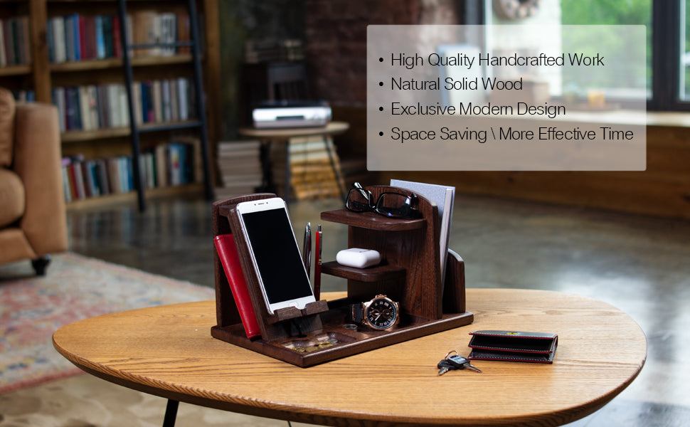 Multi Compartment Desk Organizer With Docking Stand