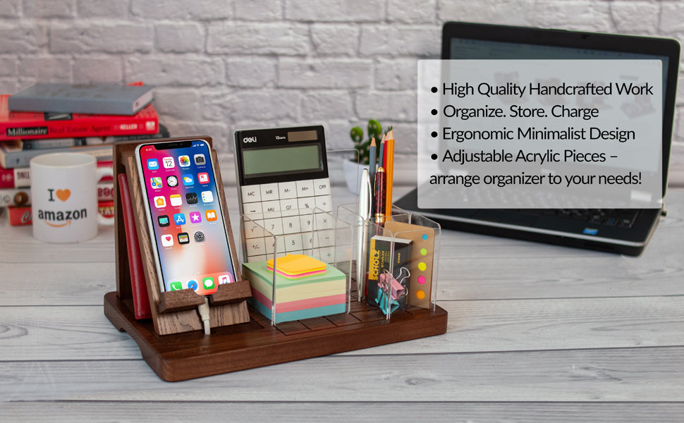 Adjustable Office Desk Organizer With Acrilic Baffles