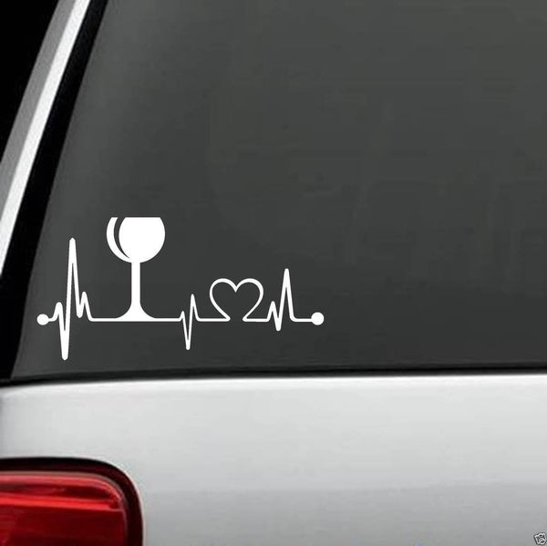 Wine Lover Glass Heartbeat Lifeline Monitor Screen Decal Sticker Cork