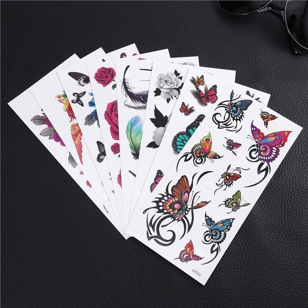 8PCS ULTNICE Tattoo Stickers Lovely Rose Flower Phoenix Patterns Peony Temporary Stylish Tattoo Decals for Costume Party Halloween Cosplay Decorating