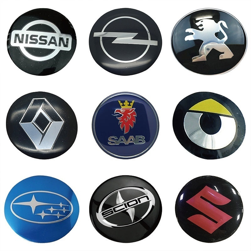 4 x 3D Metal Car Wheel Center Hub Cap Badge Stickers for Audi BMW MINI Citroen Chevy Fiat Ford Dodge GMC Honda Hyundai Mazda Mercedes Mitsubishi Nissan Land Rover Opel Peugeot Skoda Toyota Volvo VW etc.
