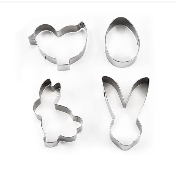 4 pcs Stainless Steel 3D Cookie Cutter Mold Easter DIY Baking Decor Pastry Modelling Tools