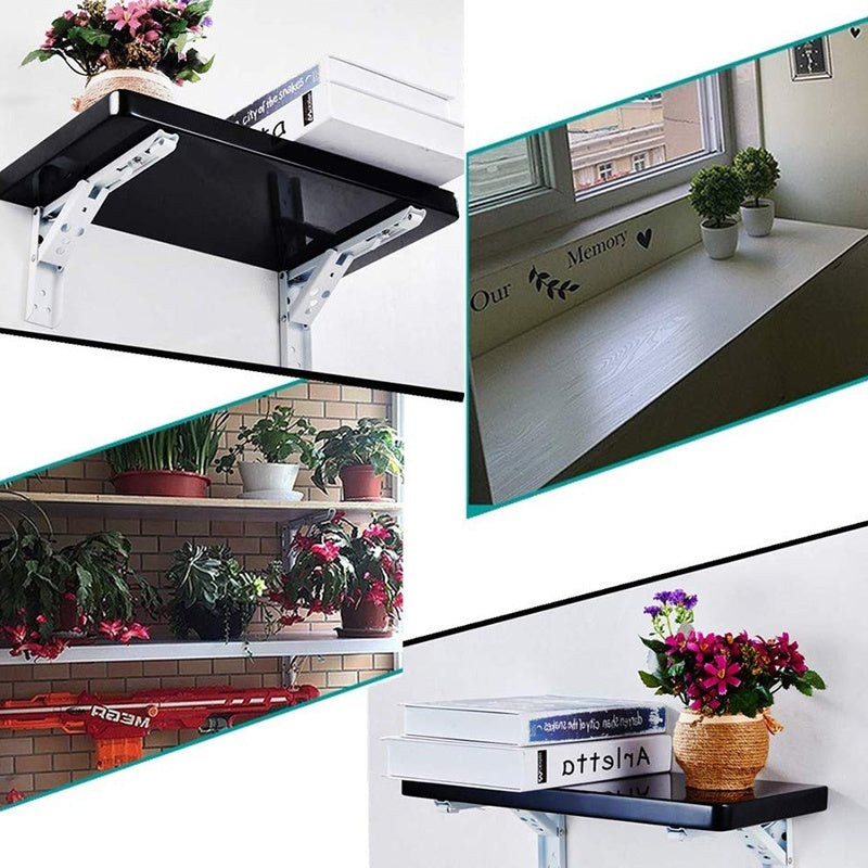2Pcs Folding Shelf Brackets, Wall Folding Table Desk Bracket Heavy Duty Folding Shelf Bench Hinge, Stainless Steel  Fold Down Shelf Bracket Max(No Shelves
