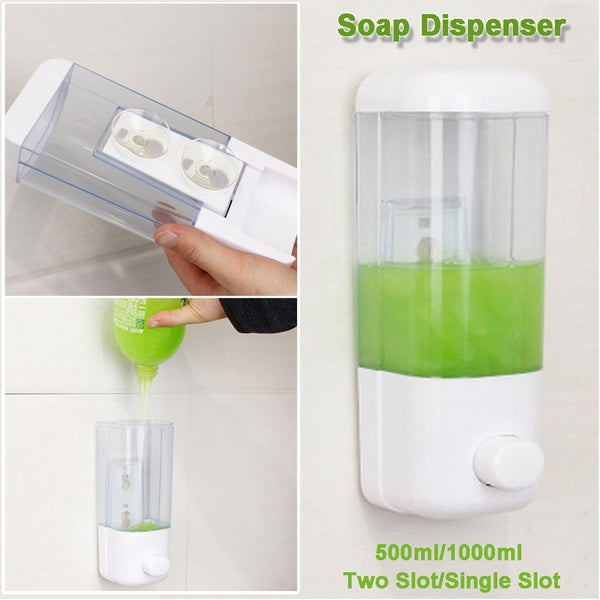 500ml Bathroom Soap Dispenser Single Slot Wall Mounted Adhesive Shampoo Container Clear Liquid Lotion Storage   COY