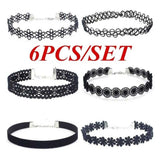 6Pcs/Set Choker Necklace Set Stretch Velvet Classic Gothic Tattoo Lace Choker