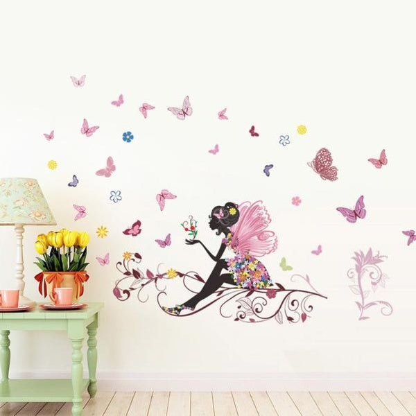 3D Colorful Butterfly On Sticks Home Yard Flower Fairy stickers Bedroom Living Room Walls Cartoon Wall Stickers Wall Decals