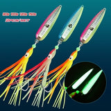 2pcs/set Metal Lure 80g/100g/120g/150g Heavy Jigging With Octopus Soft Bait Tail Lead Jigs Bait Fishing Accessories