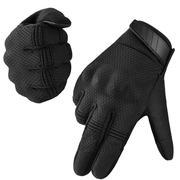 Vbiger Breathable Tactical Gloves Rubber Knuckle Cycling Gloves Touch Screen Outdoor Gloves, Black