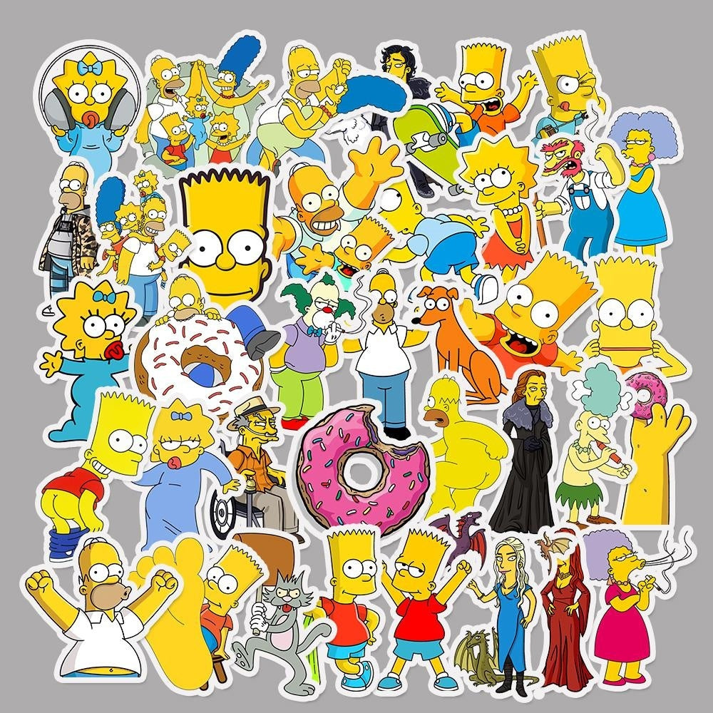 Simpsons Stickers Anime Cartoon Sticker for Skateboard Luggage Laptop Guitar Fridge Phone Car Decal Stickers