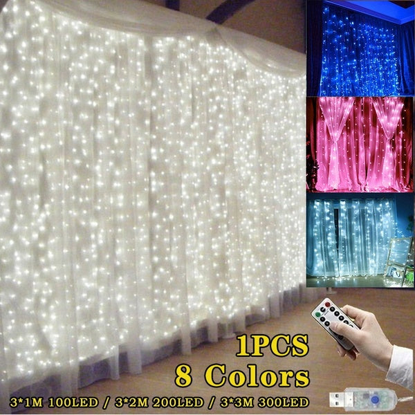 9.84x9.84ft /3Mx3M 300-LED White/Warm White//Blue/Multicolor Light Romantic Christmas Wedding Outdoor Decoration Curtain String Light with Remote Control