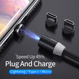 Fast Magnetic Micro USB Type C Cable for IPhone XS Max Xr Samsung Xiaomi Charging Cables Magnet Charger Charge Android Wire