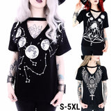 Plus Size Women Goth Keyhole Collar Short Sleeve T-shirts Moon Eagle Cross Print Tops