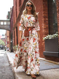 Women Fashion Elegant Floral Print A-line High Waist Boho Style Chiffon Maxi Long Dress