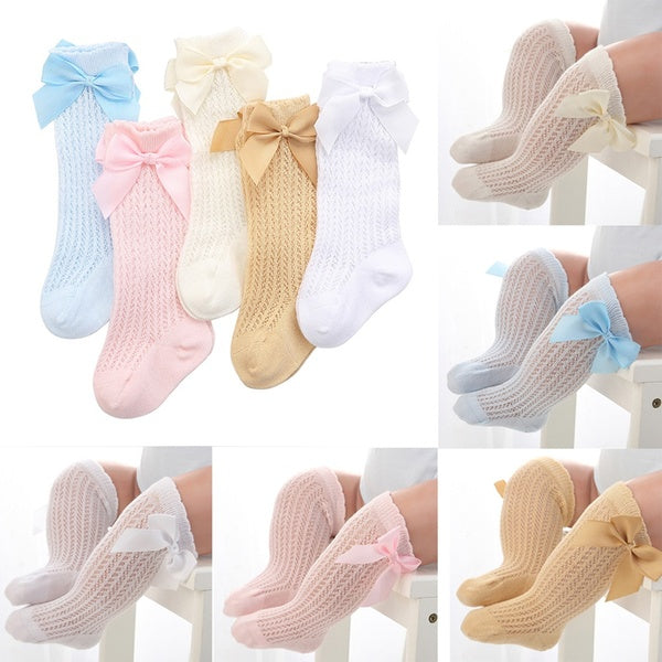 Princess Cotton Children Knee High Bow-Knot With Bow Long Tube For Girl  Baby Socks Foot Accessories