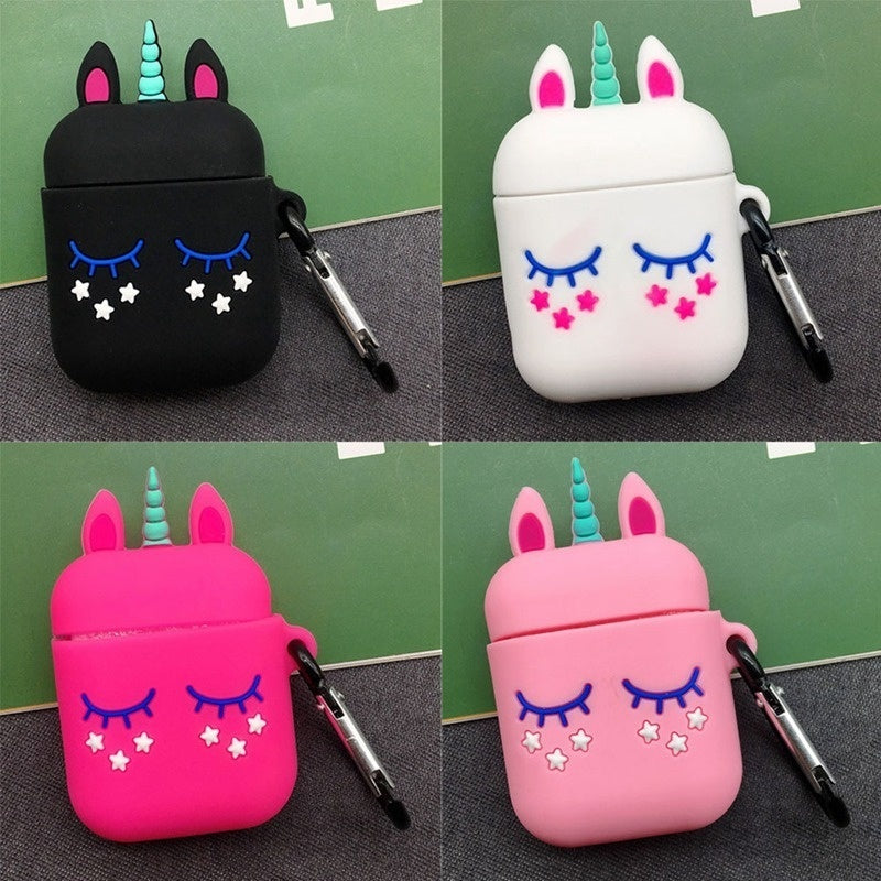 Unicorn Airpod Case Cute 3D Soft Silicone Protective Case Cover With Keychain For Apple Airpods