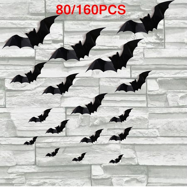 80/160Pcs 3D Horrible Bat Shape Wall Sicker for Home Showcase Halloween Party Decor
