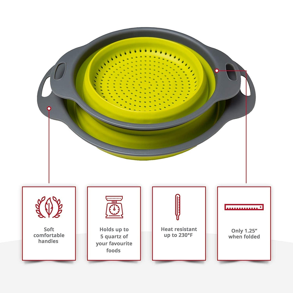 Kitchen Collapsible Silicone Colander Fruit Vegetable Strainer