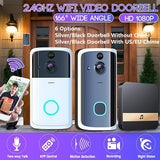 Silver/Black 1080P HD Wifi Smart Doorbell Camera Two-way Intercom Wireless Video Door Bell Motion Detection Home Security Night Vision Doorphone with/Without US/EU Plug Indoor Chime