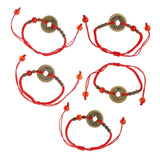 Feng Shui I Ching Ancient Coin Kabbalah Red String Attarct Luck Wealth Bracelets ENA