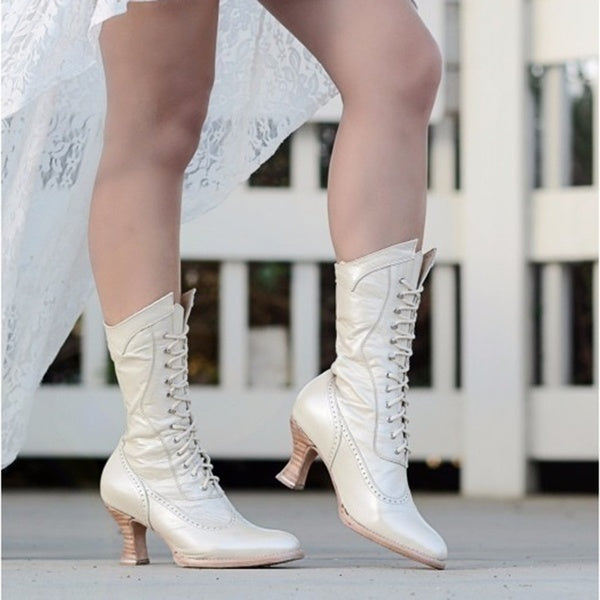 Women's Fashion Victorian Style Lace Up Leather Boots Medieval Vintage Lace Up Knight Boots Mid-calf Boots Autumn Winter Chunky Heel Shoes Ankle Short Boots Steampunk Retro Cowgirl Boots