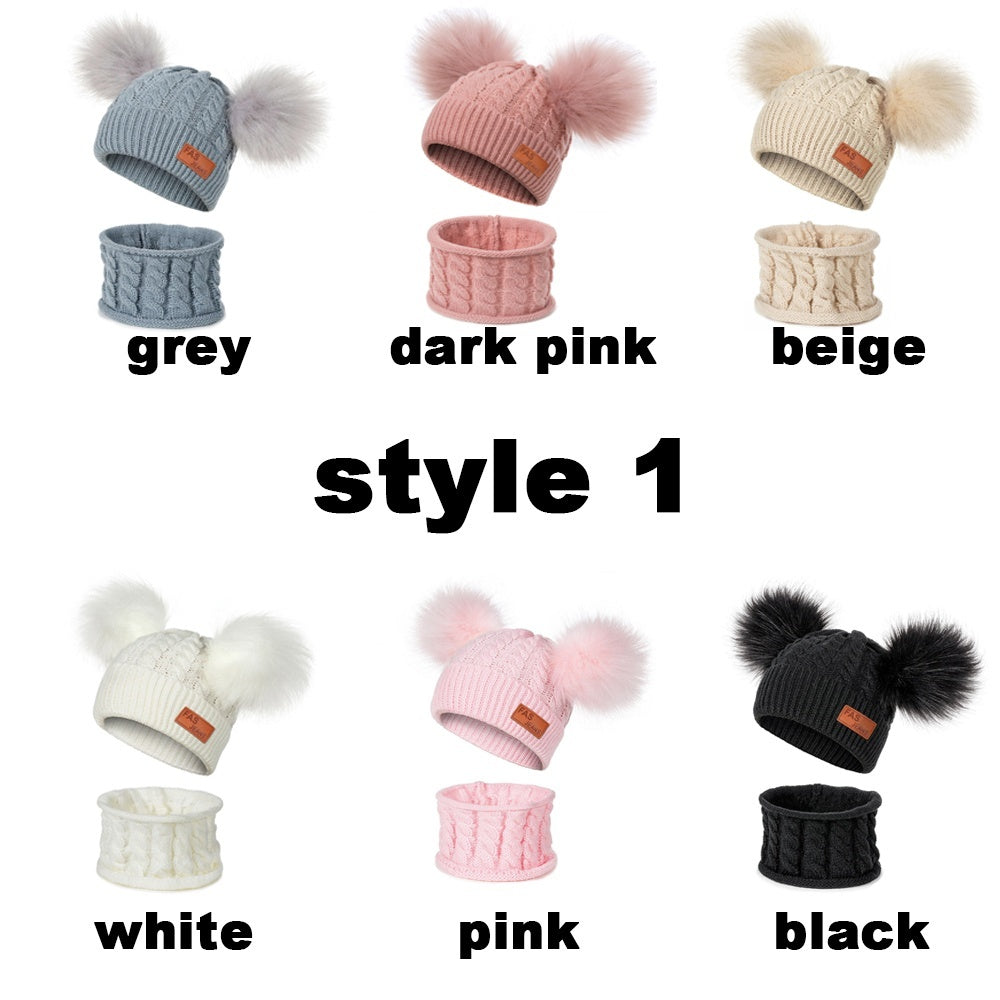 2 Piece Set Children'S Hat Double Ball Hat Scarf Set Baby Knit Hat Boy Girl Warm Headgear Suitable For 1-6 Years Old