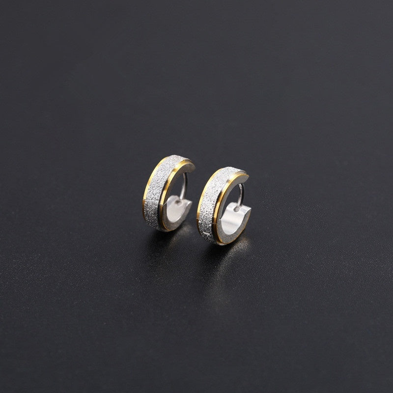 1Pc Fashion Men's Earrings Punk Titanium Steel  Anti-allergy Frosted Flat Circle Earrings Stud Jewelry Accessories