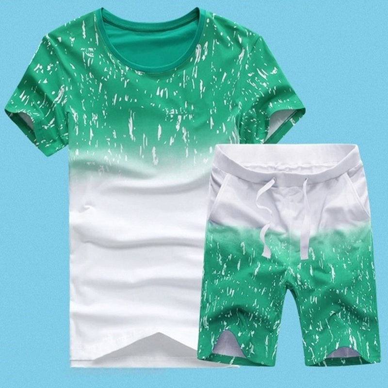 New Summer Fashion Men's Short Sleeve T Shirt Suit. 5 Colors (T Shirt+pants)