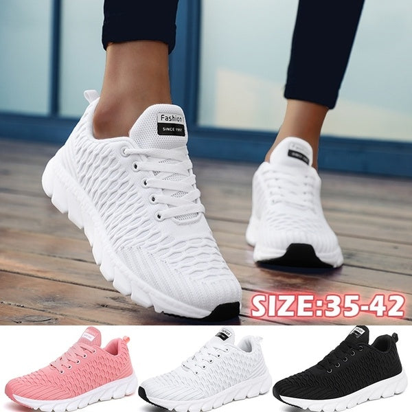 Women's Mesh Sneakers  Lightweight  Sports Athletic Running Shoes Lace Up Womens Walking Tennis Shoes Casual (Black, White,pink,US 5-11)