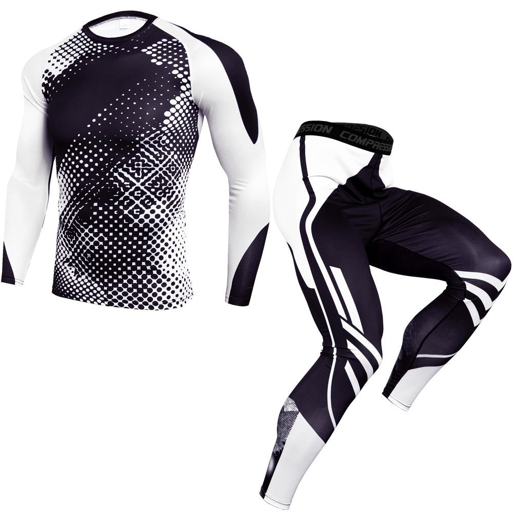 Newest Fitness Compression Sets T Shirt Men 3D Printed MMA Bodybuilding Muscle Shirt Leggings Base Layer Tight Tops
