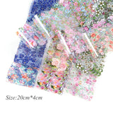 20pcs Colorful Flowers Stickers on Nails Foil Transfer Nail Art Decals