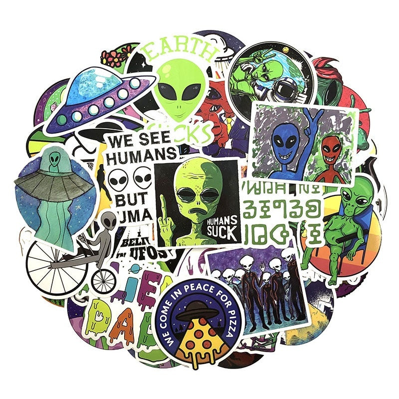 50 Pcs/set UFO Aliens Different Patterns Graffiti Waterproof Stickers Set