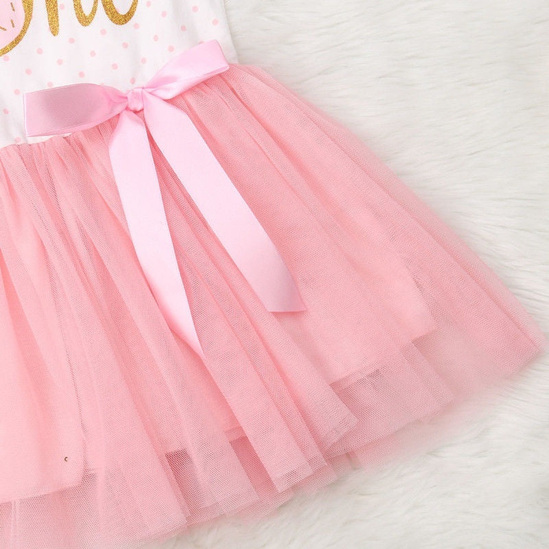 Baby Girl 1st 2nd 3rd Birthday Tulle Tutu Dress Donut Letter Print Top Tulle Tutu Skirt with Headband Outfit Set