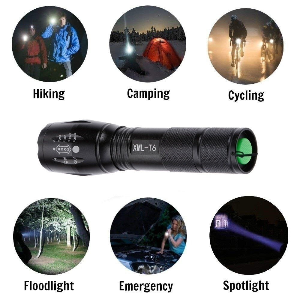 LED XML-T6 Tactical Q5 Mini Torch Lanterna Zoomable Waterproof Flash Outdoor Lighting
