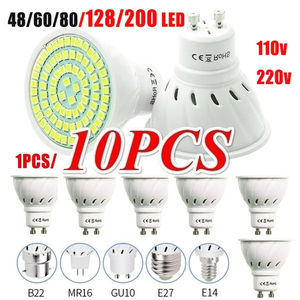 10PCS GU10 220V Lamp Spotlight LED Bulb SMD Spot Light 220V 210V Energy Saving