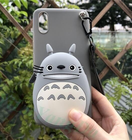 Zipper Wallet Cartoon Phone Case for IPhone 6 6s Plus 7 8 Plus X XR XS Max Soft TPU Silicone Coin Wallet Purse Bag Cover