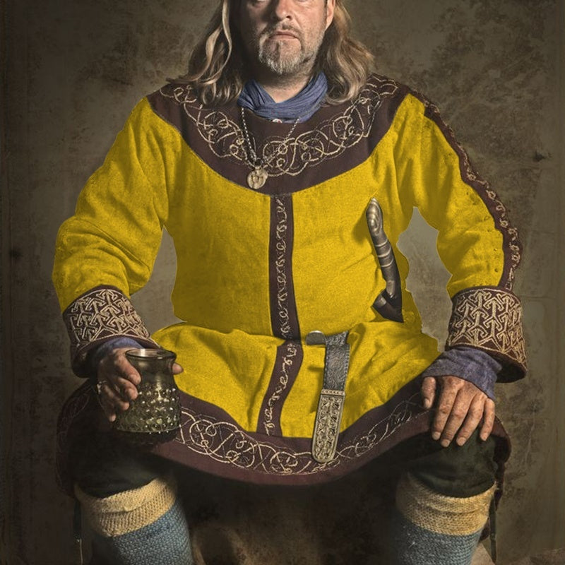 5 Colors Fashion Men Medieval Viking Shirts Vintage Printed Man Knight Warrior Robes Plus Size S-5XL