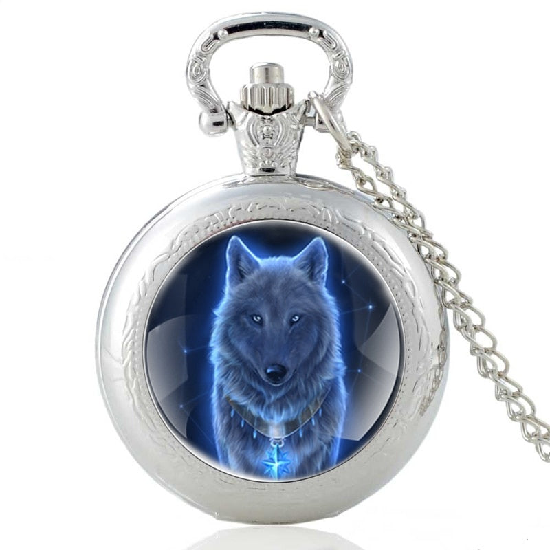 Fashion Vintage Bronze Mysterious Wolf Quartz Pocket Watch Retro Men Women Wolf Pendant Necklace Antique Jewelry