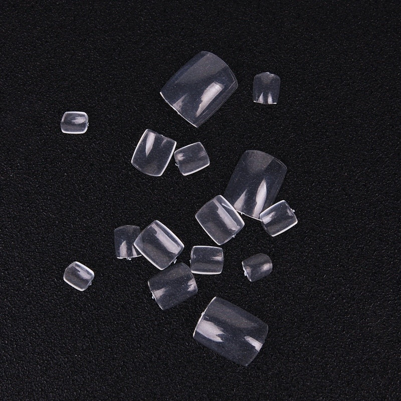 100 Pcs Artificial Nail Art Tips Short Full Cover Nail Tips Manicure False Toenails Natural/White/Clear Foot Fake Nails with Bag/Box Package