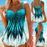 Women Two Piece Printed Tankini Swimsuit Swimwear Bathing Suit Swimdress and Shorts Plus Size