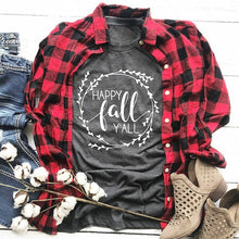 Load image into Gallery viewer, Women Fashion Printing O-neck Fall Shirts Cotton Casual Short Sleeve Women Tops