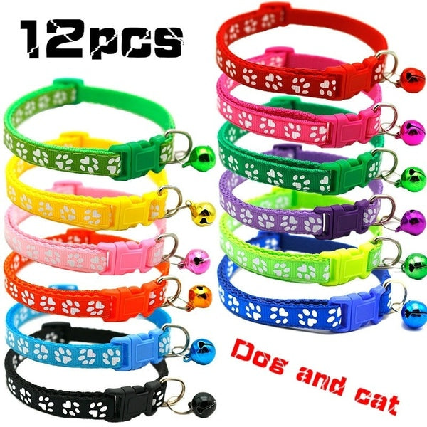 12PCS/Set New Pattern Adjustable Dog Cat Bell Collars Pet Nylon Collar with Necklace Buckle