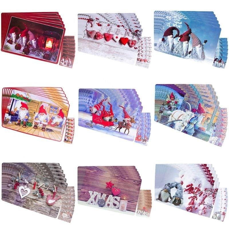 6pcs Placemats + 6pcs Cup Coaster Placemat PVC Pad Table Coaster Christmas Party Supplies Dinner Tableware Decor SMA
