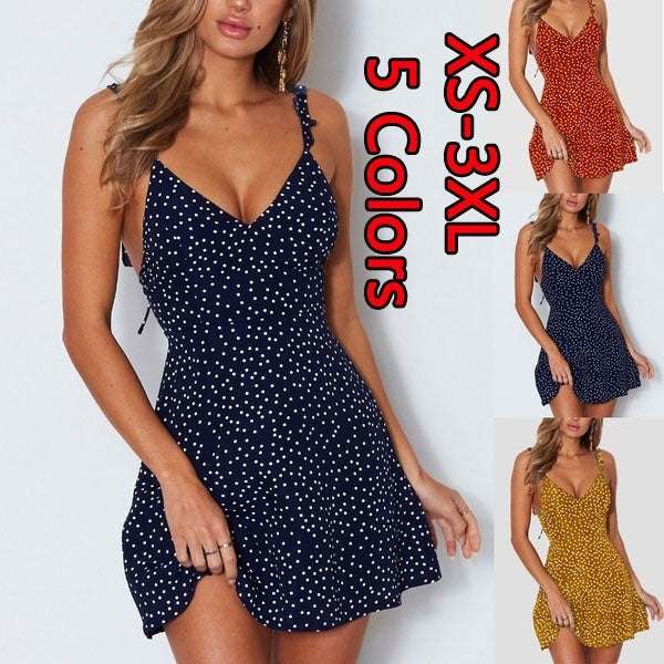 Summer Women's Fashion New Sleeveless Polka Dot V-neck Strap Mini Backless Casual Top Dresses