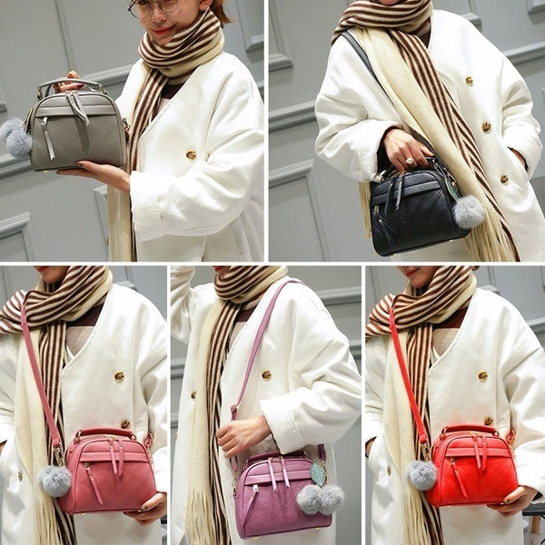 Simple PU Leather Women Casual Shoulder Bags Pure Messenger Phone Handbags