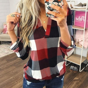 New Fashion Women Female Casual Cotton Long Sleeve Plaid Shirt Women Outerwear Blouse Tops Chemise Femme Tops