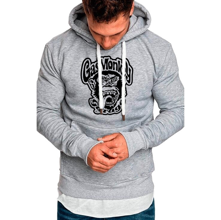 Winter Autumn Men's Fashion Hooded Hoodies Printed Gas Monkey Garage Loose Plus Size Sweatshirts Sports Pullover Tops