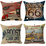 Double-sided Printing Vintage American Style USA Map Route 66 Linen Cushion Cover Pillow Case Home Decor