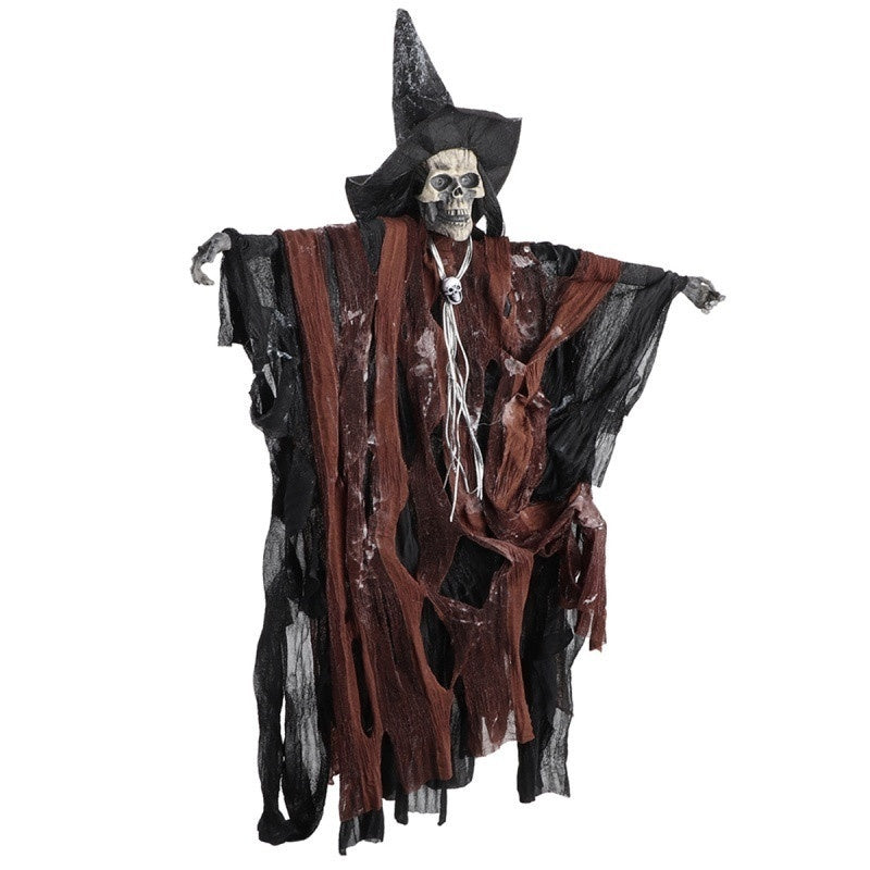 1pc Lifelike Halloween Skeleton Decoration Props Scary Hanging with Sound Control Ornament